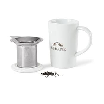 Lotus Porcelain Tea Infuser Mug - 15.5 Oz.